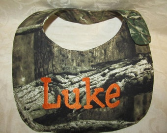 camo bib unisex mossy oak camo camouflage orange bib you choose name, color, font, camo fabric custom handmade to order