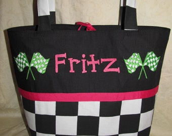 Black and white Checkered flag diaper bag tote racing flag checkered flag diaper bag or tote you choose name and colors