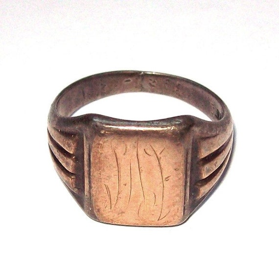 sterling silver and 10k gold signet ring sz 7 5 by
