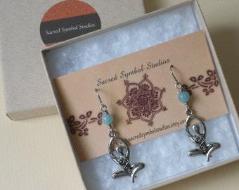 Gift for Yogi  Midwife Gift  New Mom Gift  Goddess Earrings  Doula Gift  Spiritual Midwifery New Mother Gift  Yoga Earrings  Gift for Yogini
