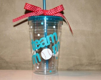 Team Mom gift 16 oz Insulated cup with baseball, football, softball, soccer, or volleyball and polka dots Clear cup & lid only
