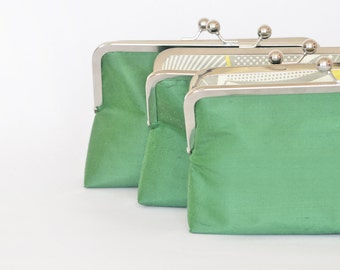 Custom Silk Hunter Green Clutches Bridesmaids Gift Bridesmaids Bags Customize Your Lolis Creations Clutch Purse Personalized
