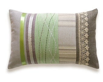 Green Beige Lumbar Pillow Case OOAK 12 x 18 in IRMA DESIGN