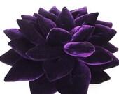 decorative rich purple Lotus flower velvet pillow-flower pillow-home decor-16x16-throw pillow-meditation pillow- designer accent pillow