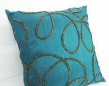 home decor pillow-spiral design on teal cushioncover with copper wire zardozi handwork in 16x16 inches-exotic designer pillow-silk pillow