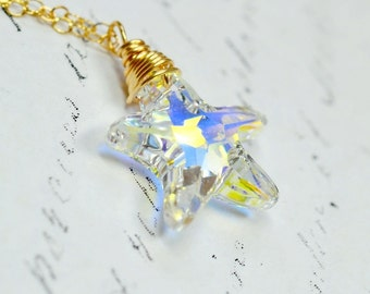 Swarovski Crystal Starfish Necklace, 14k Gold Filled Chain, Crystal Sea Star, Beachy Nautical Jewelry