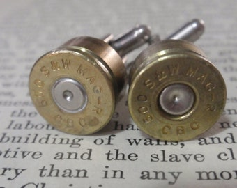 Bullet Shell Cufflinks .50 cal 2 tone (50 Caliber) Special Forces Desert Eagle Pistol Round  Up Cycled Repurposed Gold Silver