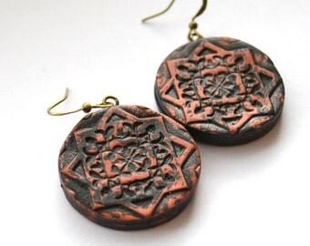 Large round earrings Chunky copper earrings Polymer clay Beaded jewelry OOAK handmade earrings