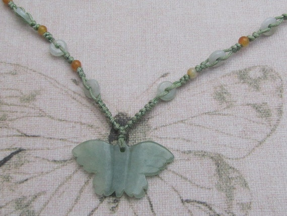 green Jade butterfly necklace Birth stone one off jewelry.