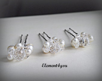 Ivory hair pins, Bridal Bridesmaid hair do, French Chignon hair pins, Pearls crystals clusters, Set of 3, Silver gold wire, Flower girl gift