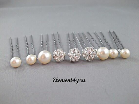 perle boule strass perles swarovski pingles cheveux morceau de cheveux marie - Epingle Cheveux Mariage