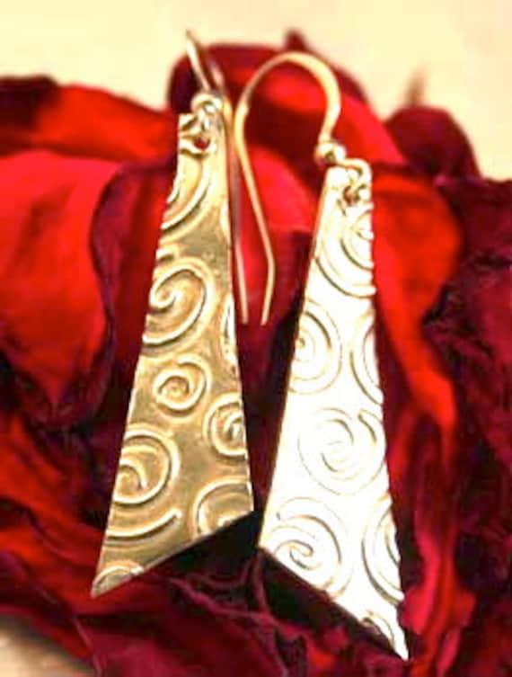 PMC Fine Silver Swirl Dangle Earrings, Artisan Earrings, Silver Earrings, PMC Earrings, PMC Jewelry