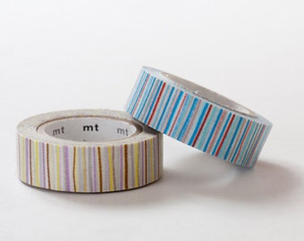1 DOLLAR SALE-MT 2013 Japanese Washi Masking Tape / Blue & Purple Colorful Stripes at your choice for journaling, scrapbooking, packaging