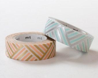 1 Dollar Sale - MT 2013 S/S Japanese Washi Masking Tape / Peach & Blue Corner Stripes for journaling, packaging, scrapbooking
