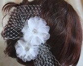 Silk organza flowers hair clip for wedding reception bridal party with Russian netting wedding hair piece - 2 peonies - on sale