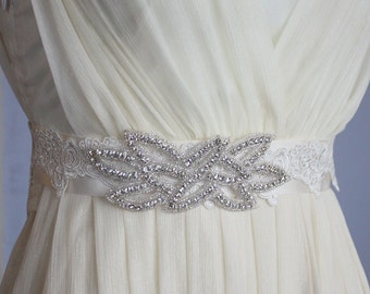 Wedding Sash for brides-- with crystal rhinestones and lace in ivory S5