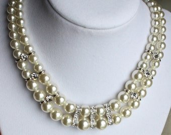 double-strand pearl necklace Bridal wedding