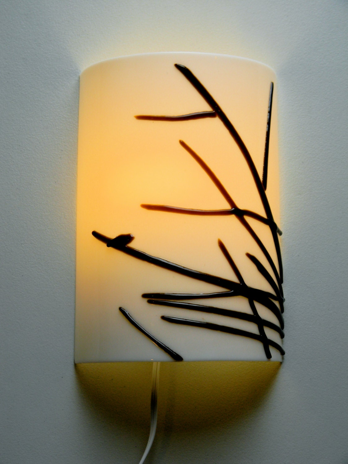 Fused Glass Wall Lights : Bird at Dawn Fused Glass Wall Sconce
