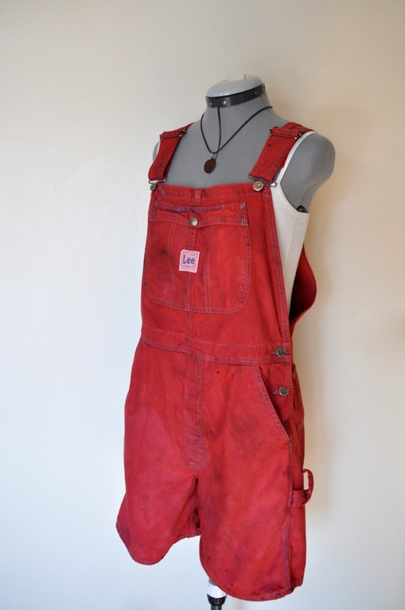 Red Bib OVERALLS  - Hand Dyed Red Lee Denim Overall Shorts - Boho Rocker Hipster - Size Large (38 waist)