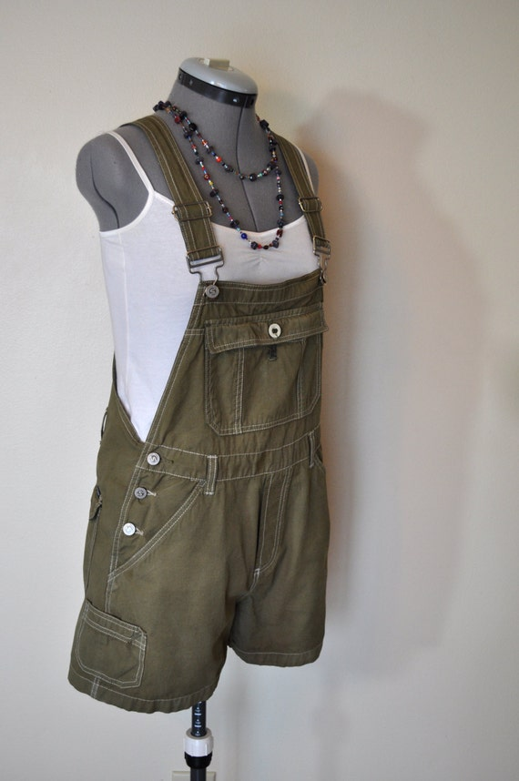 Cotton Bib Overalls Hand Dyed Olive Green Squeeze Cotton