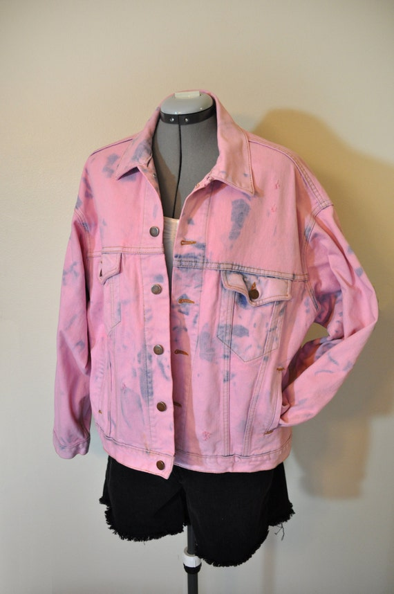 Pink Denim Jean JACKET Petal Pink Hand Dyed Upcycled Denim