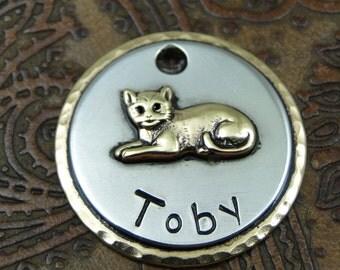 Custom Cat ID Tag Sleepy Kitty-Handmade Cat ID Tag-Cat Collar ID Tag