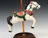 Sculpted Carousel Horse with Roses in Pink and Purple - handmade one of a kind sculpture in clay