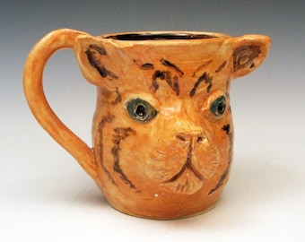 Pink elephant mug handmade animal face mug by for Animal face mugs