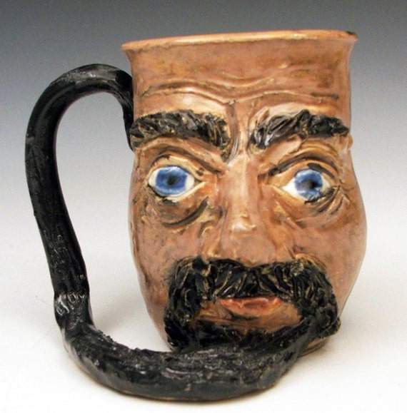 Blue Eyed Pirate Mug Tankard with Long Beard Handle