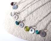 one custom petite sterling silver initial pendant with birthstone/ mother's necklace/ initial necklace/ birthstone jewelry