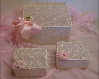 Lace and Vintage Trims - Set of Storage Boxes - Jewelry Holders - Feminine French Inspired
