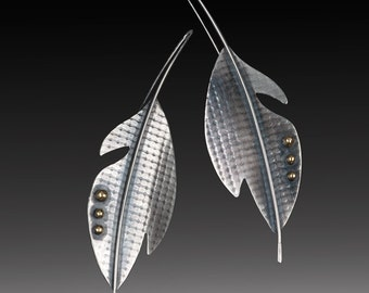 Silver feather architectural earrings: long, bold sterling silver and brass feather earrings