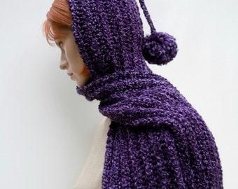 Gothic Purple Hooded Scarf - Purple Hooded Scarf - Purple Pixie Hood - Women Hat Scarf - Crochet