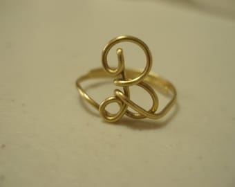 Adjustable Initial Wire Ring Letter B