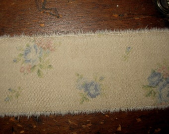 Tattered Tea Stained Fabric Ribbon  Dainty Blue and Pink Tossed Roses So very vintage