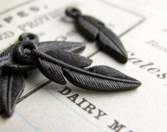 Small rustic black feather charm from Bad Girl Castings, 18mm, antiqued dark pewter (4 charms) bird, woodland, Western Frontier, Boho charms