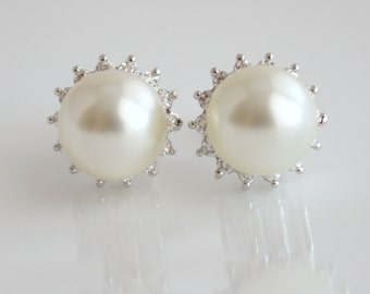 Pearl Jewelry Cubic Zirconia Cream Ivory Pearl Bridal Earrings Bridesmaid Earrings Posts Silver Wedding Jewelry