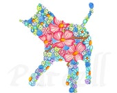 Blue Playful Kitty with Pink Dogwood Flowers 8 x 10 inch Floral Art Print - Wall Art Home Decor