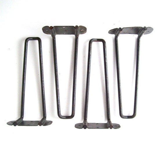 Vintage hairpin table legs set of 4 short mid century modern for Short table legs