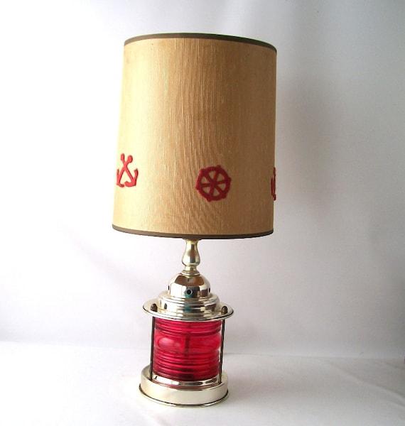 Nautical Shade For Vintage String Lights: Vintage Nautical Lamp W/ Shade Red Anchor Ships Wheel Lantern