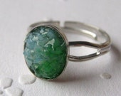Stained Glass Small Druzy Ring, Emerald Druzy Ring, Molten Glass Ring, Aquamarine Ring