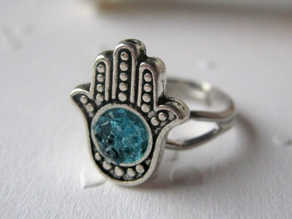 Silver Hand of Hamsa Ring with Sky Blue Stained Glass Druzy, Adjustable, Pick Your Color
