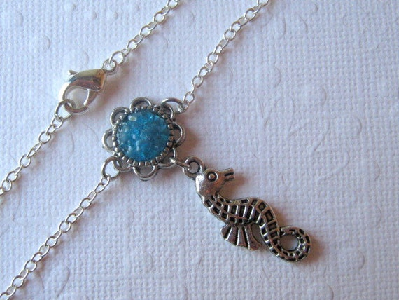 Seahorse Ankle Bracelet, Blue Stained Glass Gemstone Anklet, Silver Flower Cabochon, Designer Jewelry, Sea Animal