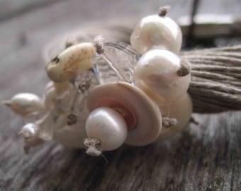 Natural Pearls Linen Bracelet Wedding Jewelry Multi Strand Bracelet Snow White Bride Bracelet Gemini Junes Birthstone Summer Fashion