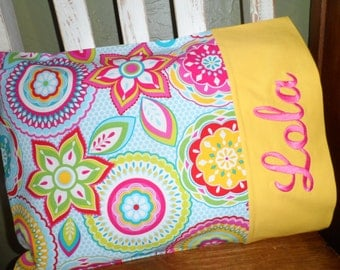 Flower Print - Personalized Travel-size Pillowcase - Toddler Pillow Pillowcase - Kids Pillowcase
