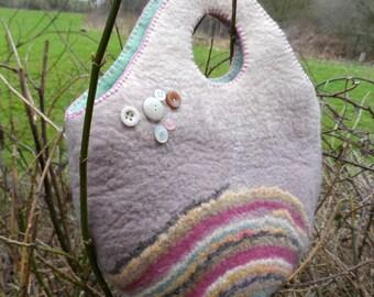 Felted Tote Bag - Serene Spirals - button embellished - soft colours