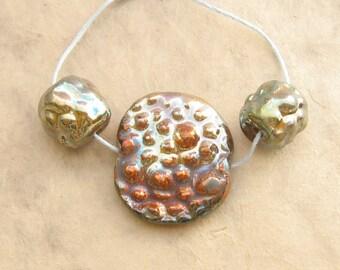 Raku Ceramic Beads - Focal Set of Bubble Texture Beads