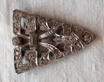 Antique Dress Clip Rhodium Plated Metal and Paste