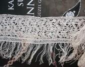 Antique Beige Linen Lace Trim ,cotton thread linen Edging