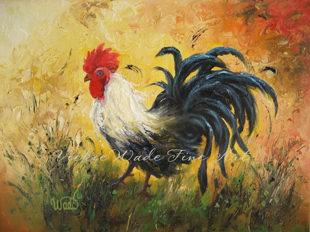 rooster original oil painting rooster by vickiewadefineart